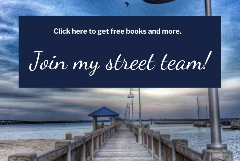 Painting of a long wooden pier. Join Kathleen J. Robison's street team to get free books before they are released.